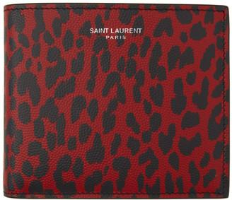 Saint Laurent Red and Black Babycat Wallet