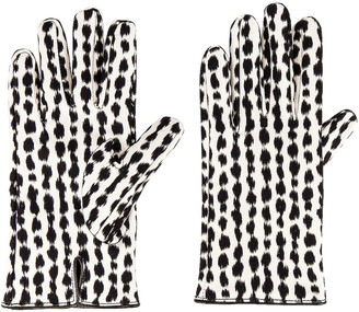 Raf Simons Animal Fabric Gloves in White & Black | FWRD