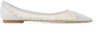 Jimmy Choo LOVE FLAT Metallic Silver Glitter Fabric Flats with Ivory Tulle Overlay