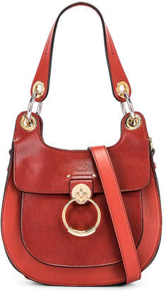 Chloé Small Tess Leather Hobo Bag in Sepia Brown | FWRD