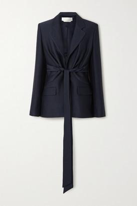 Gabriela Hearst Grant Tie-front Wool And Silk-blend Blazer - Navy