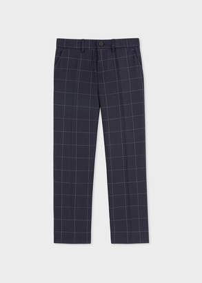 Paul Smith 8+ Years Navy Windowpane 'A Suit To Smile In' Wool Trousers