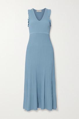 MICHAEL Michael Kors Ruffle-trimmed Ribbed-knit Midi Dress - Blue