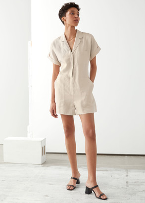 And other stories Boxy Lyocell Linen Blend Playsuit