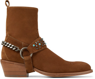 Jimmy Choo JESSE Sugar and Turquoise Suede Boots with Harness
