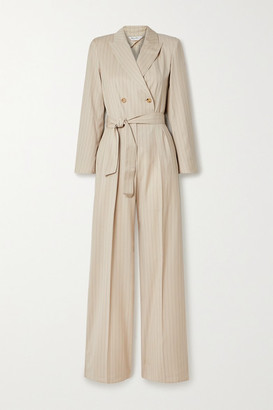 Max Mara Diana Double-breasted Belted Pinstriped Wool-twill Jumpsuit - Sand