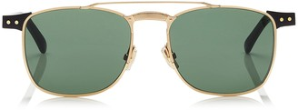 Jimmy Choo ALAN Green Lense and Black Acetate Square Frame Sunglasses with Gold Metal Frame