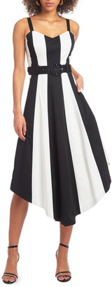 Christian Siriano Colorblock Handkerchief Sleeveless Midi Dress