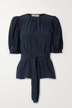 ARoss Girl x Soler Brooke Belted Silk Crepe De Chine Top - Navy