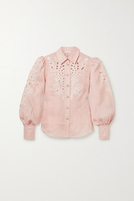 Zimmermann Freja Broderie Anglaise-trimmed Linen Blouse - Baby pink