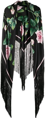 Dolce & Gabbana Tropical Rose fringed scarf