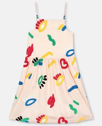 Stella Mccartney Kids Graphic Face Embroidery Cotton Dress, Women's