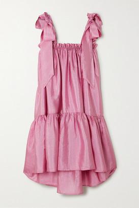 Stine Goya Serena Tiered Hammered-satin Dress - Pink