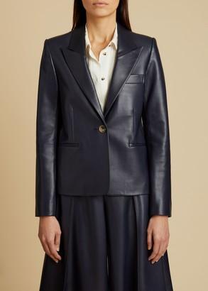 KHAITE The Brita Blazer in Navy Leather