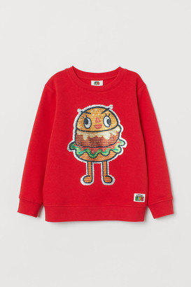 H&M Sweatshirt with Motif - Red