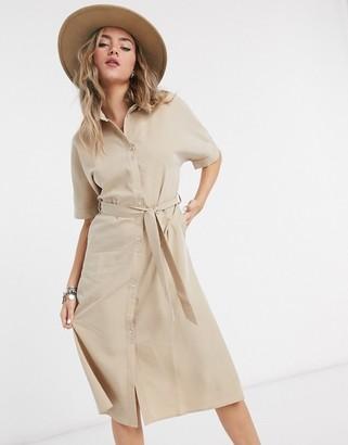 Vila midi shirt dress in tan