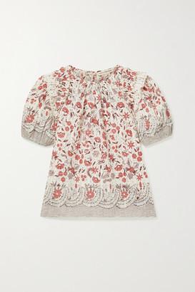 Ulla Johnson Arbor Ruffled Floral-print Cotton-voile Top - Ecru