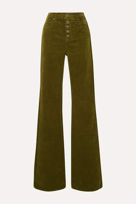 Veronica Beard Beverly Stretch-cotton Corduroy Flared Pants - Army green