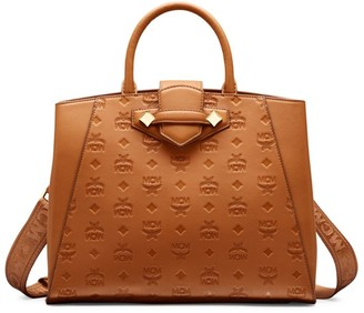 MCM Essential Monogrammed Leather Top Handle Bag