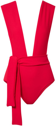 Haight Belted Stretch-crepe Swimsuit
