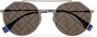 Fendi Aviator-Style Logo-Print Silver-Tone And Acetate Sunglasses