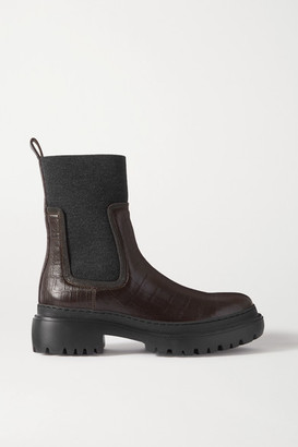 Brunello Cucinelli Bead-embellished Cashmere-trimmed Croc-effect Leather Chelsea Boots - Brown