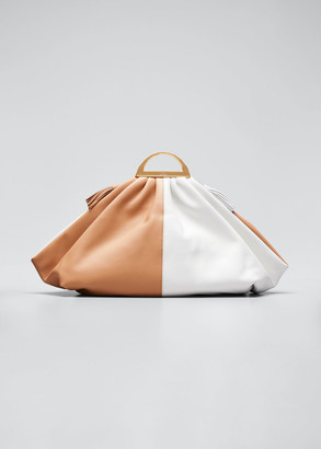 THE VOLON Gabi Two-Tone Leather Clutch Bag