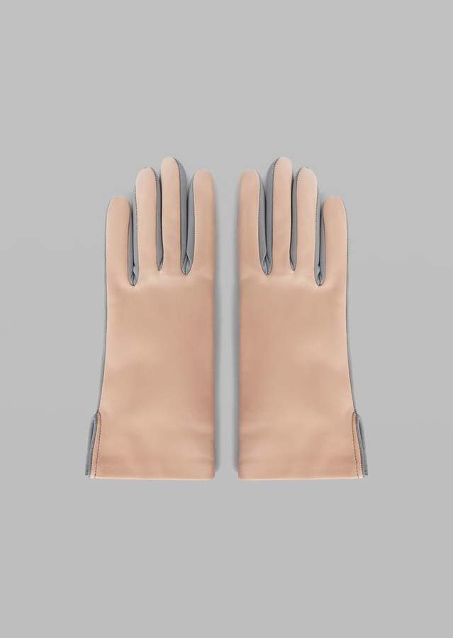Giorgio Armani Two-Colour Leather Gloves With Side Slits