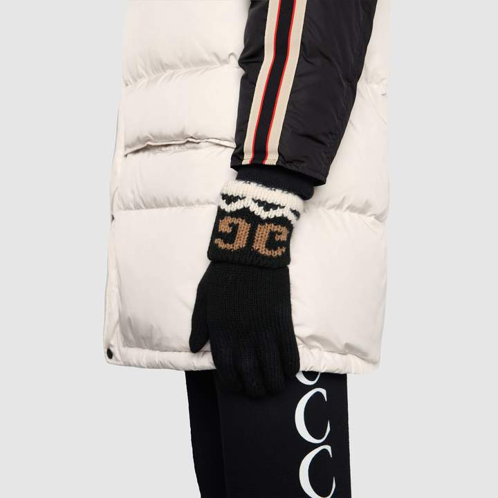 Gucci Wool gloves with mirrored GG