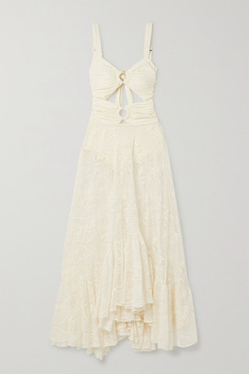 PatBO Cutout Ruched Stretch-jersey And Corded Lace Maxi Dress - Ivory