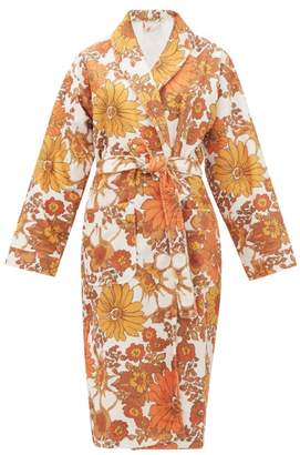 Dodo Bar Or Luba Belted Floral-print Terry Robe - Womens - Brown Print