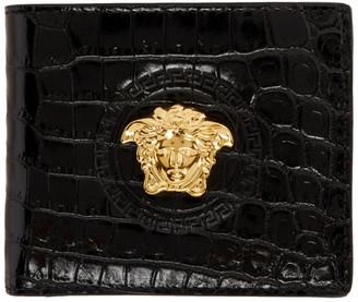 Versace Black Croc Medusa Palazzo Wallet