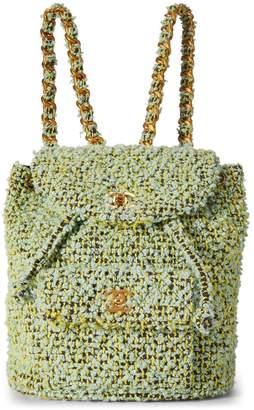 Chanel Green Tweed Classic Backpack Medium