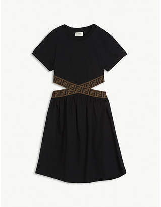 Fendi Criss-cross cut-out cotton dress 8-14 years