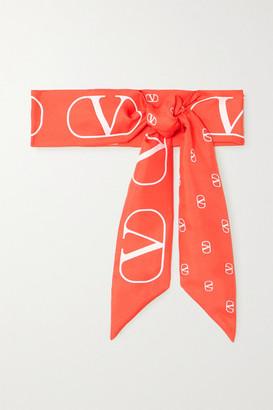 Valentino Garavani Printed Silk-twill Scarf - Orange