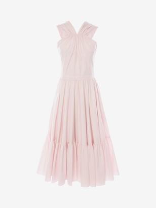 Alexander McQueen Cotton Poplin Halterneck Midi Dress