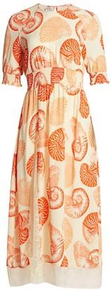 Baum und Pferdgarten Back To Back Aleela Smocked-Sleeve Midi Dress