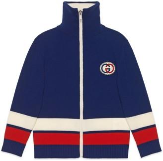 Gucci Children's wool cardigan with Interlocking G torchon