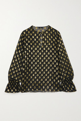 Etro Metallic Fil Coupe Silk-blend Georgette Blouse - Black