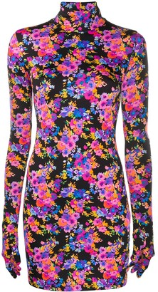 Vetements Gloved floral-print fitted mini dress