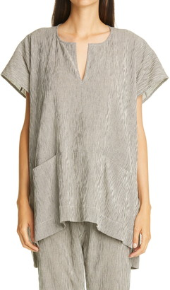 Zero Maria Cornejo Rae Stripe Cotton Tunic Top