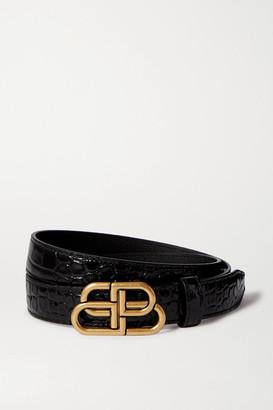 Balenciaga Embellished Glossed Croc-effect Leather Belt - Black