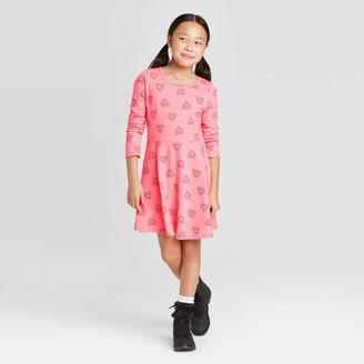Cat & Jack Girls' Long Sleeve Hearts Knit Dress - Cat & JackTM Coral