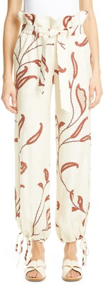 Johanna Ortiz Leaf Print Linen Paperbag Pants