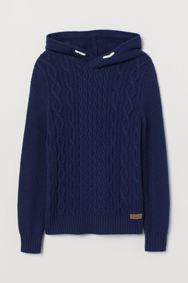 H&M Cable-knit Hoodie - Blue
