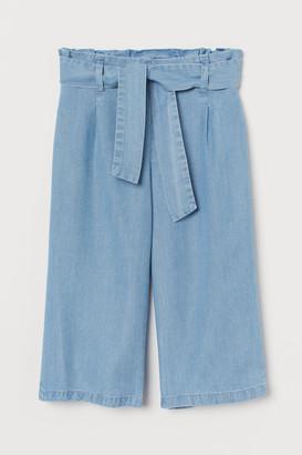 H&M Wide-cut Tie-belt Pants - Blue