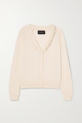 Simone Rocha Ruffle-trimmed Embellished Wool And Silk-blend Cardigan - Cream