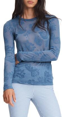 Rag & Bone Valencia Floral Long Sleeve Burnout T-Shirt