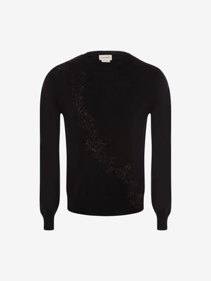 Alexander McQueen Jet Embroidered Floral Garland Sweater