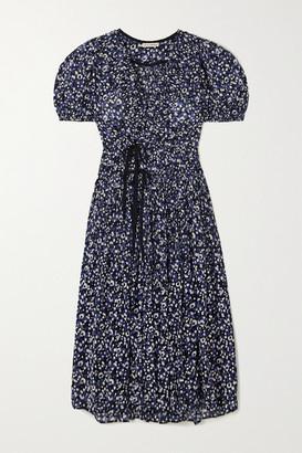 Ulla Johnson Kemala Wrap-effect Pintucked Printed Cotton-voile Midi Dress - Navy